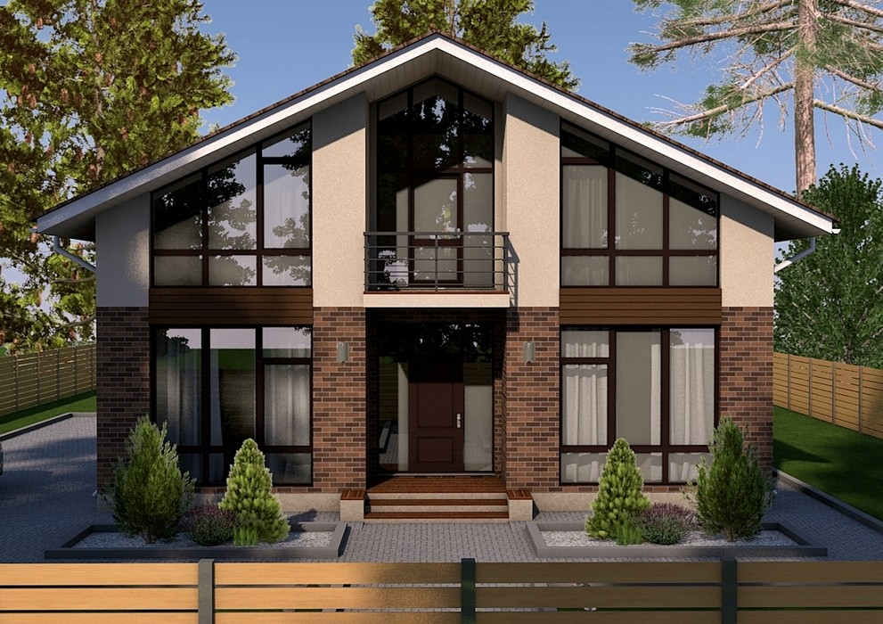 кирпичные дома фото с большими окнами часть